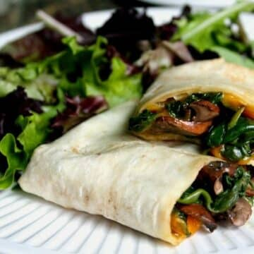 mushroom and vegan cheddar wrap recipe