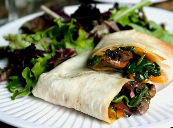 mushroom and vegan cheddar wrap recipe