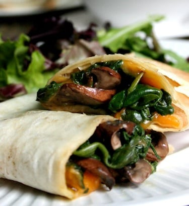 Vegan Spinach, Mushroom, and Cheddar Wraps