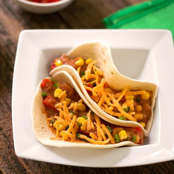 Vegan soft tacos with refried beans and corn recipe
