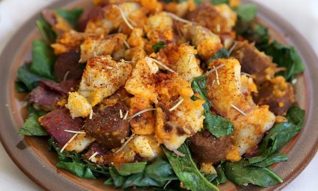 Potatoes with collard greens and vegan sausage