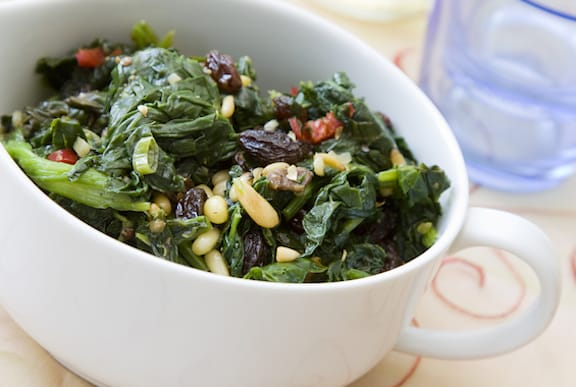 Mediterranean Spinach with Pine nuts and raisins