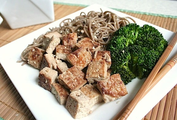 Sweet and Savory Sautéed Tofu served with sesame soba noodles and broccoli