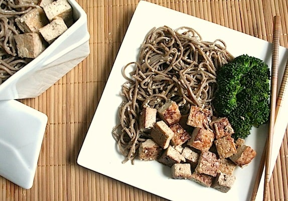 Sweet and Savory Sautéed Tofu recipe served with sesame soba noodles and broccoli