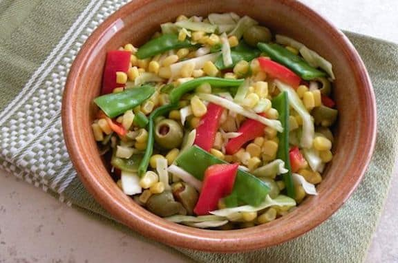 Corn and snow pea salad
