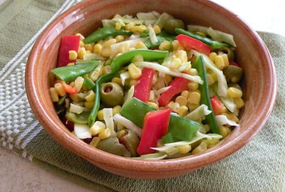 Corn and snow pea salad recipe