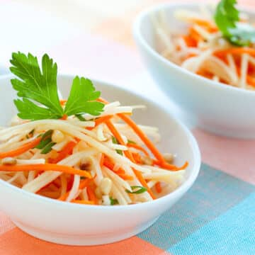 Daikon and carrot salad with pine nuts
