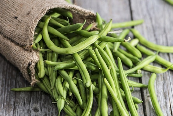 Green beans on table
