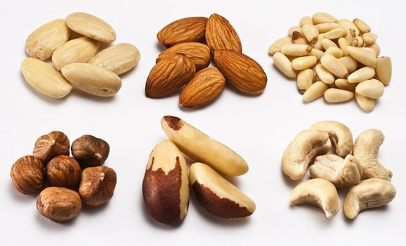 Nut varieties — almond, pine nuts, cashews, brazil nuts, hazelnuts