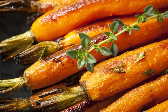 Garlic-roasted carrots
