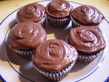 vegan chocolate cupcakes or cake with vegan icing