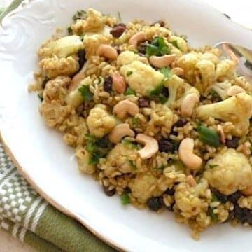 cauliflower rice pilaf with cashews