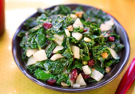 Festive kale with fennel and cranberries