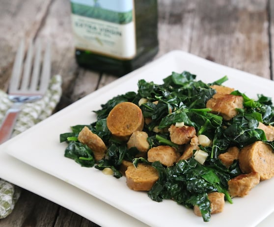 Greens with seitan and vegan sausage recipe