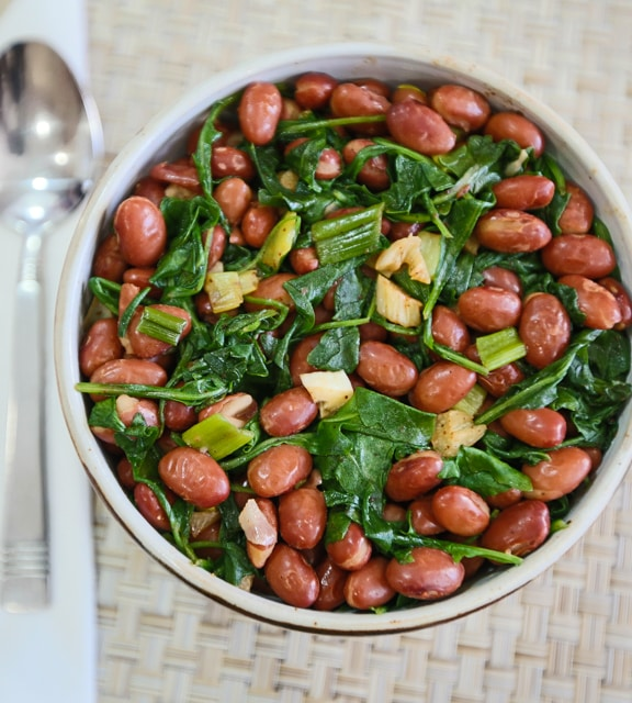 Pink Beans with Spring Greens recipe