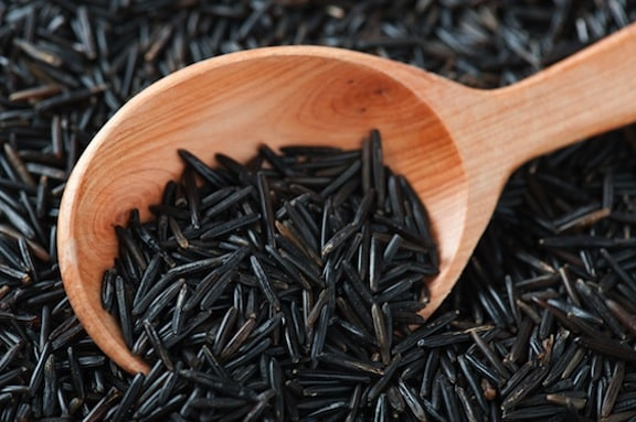 wild rice in a spoon