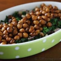 balsamic chickpeas and mustard greens