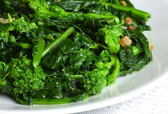 Broccoli rabe sauteed in olive oil with garlic