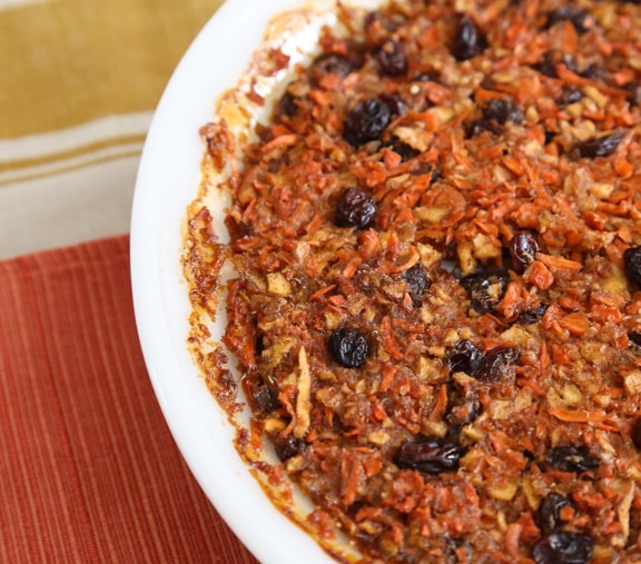 Passover Carrot Raisin Pudding