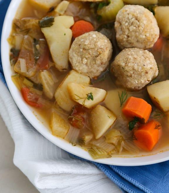 Sephardic-Style Matzo Ball Soup - vegan