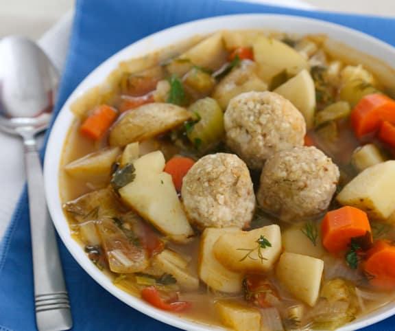 Sephardic-Style Matzo Ball Soup (vegan recipe)