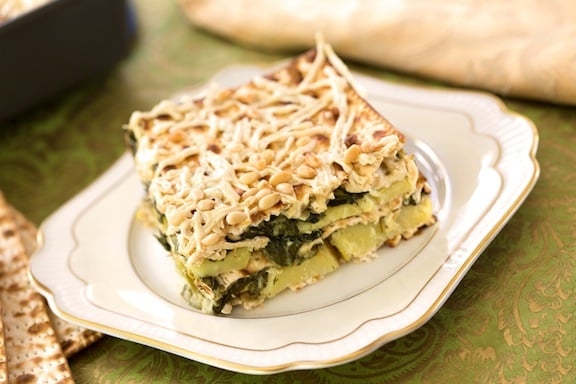 Spinach, Leek, and Potato Matzo Casserole