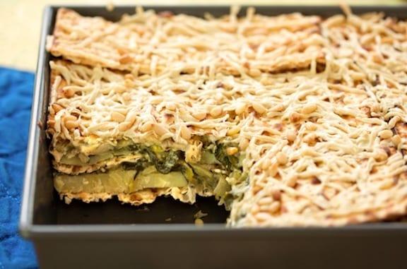 Spinach and potato matzo gratin (mina) recipe