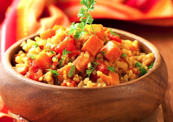 Bulgur pilaf with sweet potato