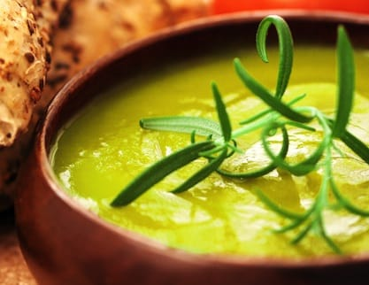 Cream of leek and asparagus soup