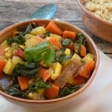 Kale, Yellow Squash and Sweet Potato Stew