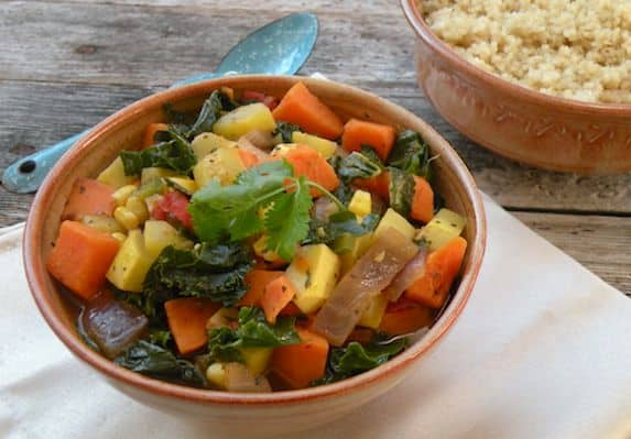Kale, Yellow Squash and Sweet Potato Stew