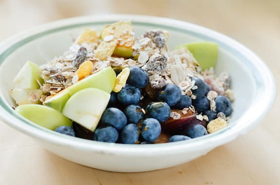 Homemade muesli cereal with fruits