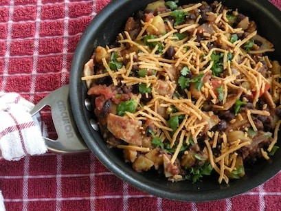 skillet black beans with potatoes and tortillas