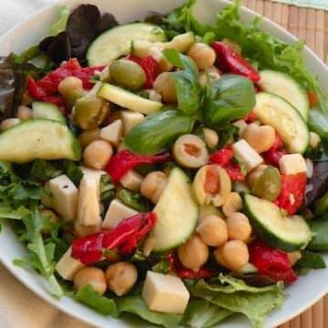 Chickpea Salad with Zucchini, Vegan Mozzarella, and Basil