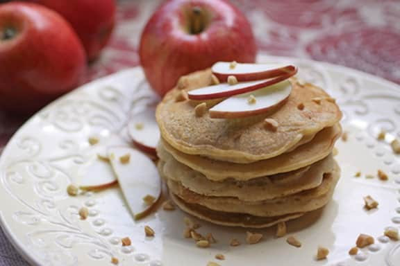Apple-Almond Butter Pancakes by Robin Robertson; photo by Lori Maffei