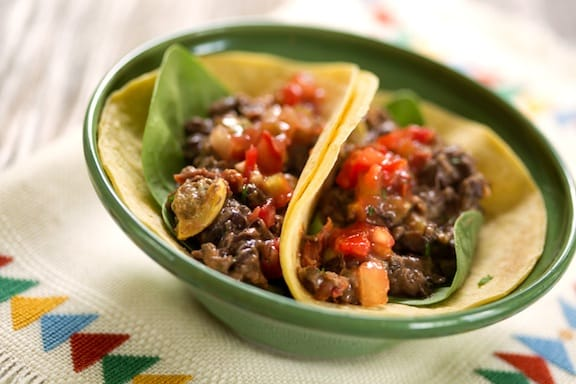 Black bean and squash tacos