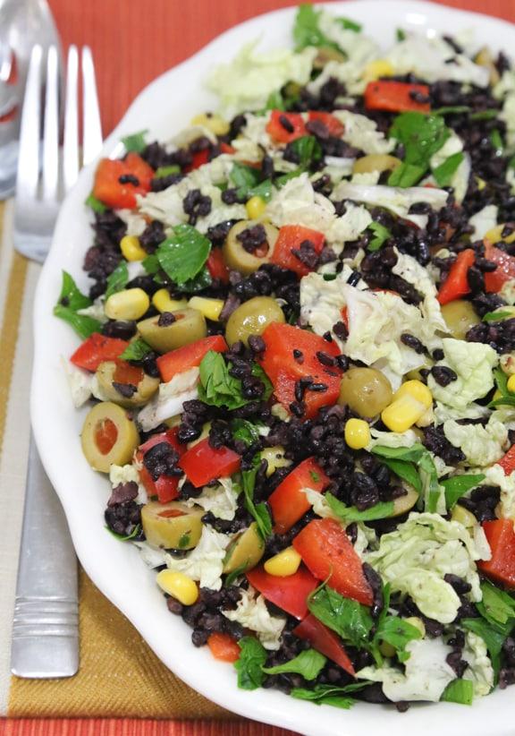 Olive rice salad using black rice