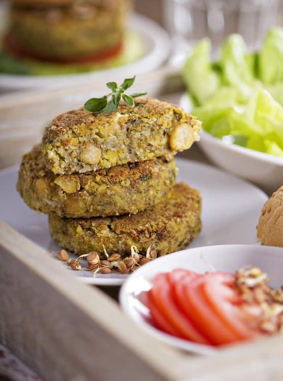 Baked chickpea burgers vegan