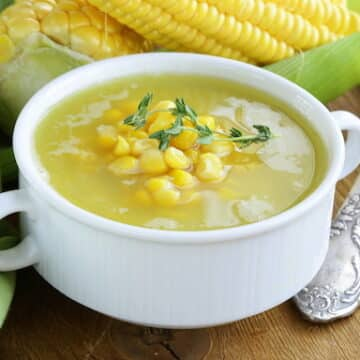 Cold corn and watercress soup