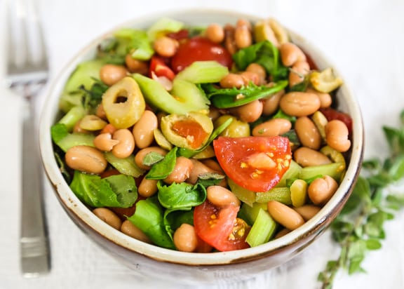 Pinto Bean Salad with watercress or arugula
