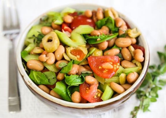 Pinto Bean Salad with watercress or arugula