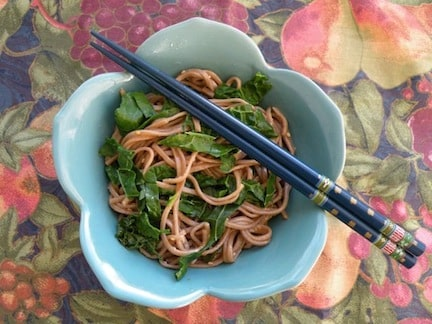 sesame-ginger soba noodles with greens