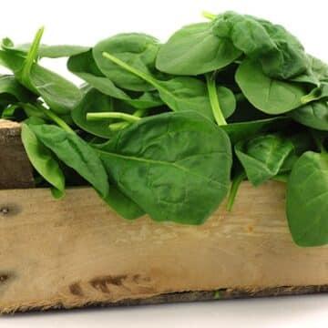 Spinach in a crate