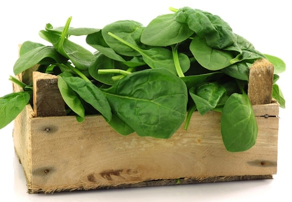 Spinach in a crate