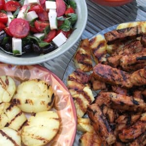 grilled vegetables and tempeh