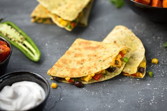 Vegan Bean and corn quesadillas