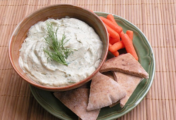 Dilled miso tahini dip or spread