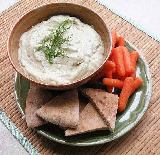 Dilled miso tahini dip or spread