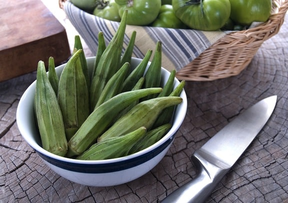 Okra and green tomatoes
