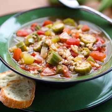 Okra rice soup